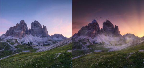 Luminar AI 照片处理前后对比(官方演示效果,左侧是原图)